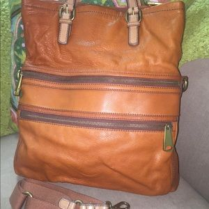 FOSSIL Cognac Leather Crossbody foldable tote